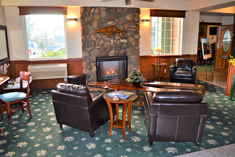 lobby area seating with fire place